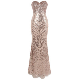$enCountryForm.capitalKeyWord Australia - Angel-fashions Women's New Strapless Evening Dresses Vintage Art-Deco Sequin Boda Party Gown Champagne Evening Dress 414
