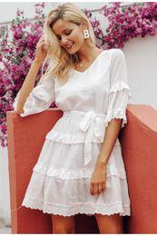 $enCountryForm.capitalKeyWord NZ - Elegant Embroidery White Women Dress Flare Sleeve Ruffle Sashes Summer Dresses Casual V-neck Sexy Dress Female Vestidos