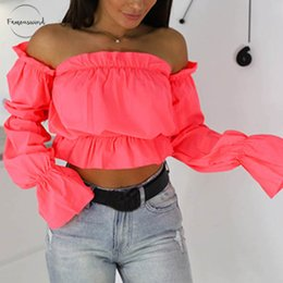 Wholesale candy short sexy resale online - Candy Blouse Color Off Shoulder Crop Tops Women Beach Dot Print Lantern Sleeve Shirts Sexy Slash Neck Summer