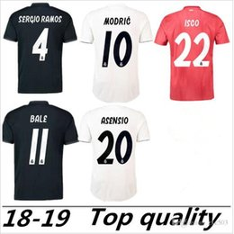 blue real madrid s soccer jersey NZ - S-2XL Real Madrid 2018 2019 Soccer jersey MODRIC MARIANO ASENSIO VINICIUS JR BALE RAMOS 18 19 Real Madrid Football Shirt ISCO Camiseta