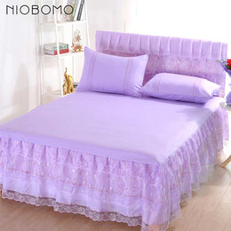 full petticoats Canada - NIOBOMO Home Bedding Skirt Single Double Bed Skirt Mattress Cover Petticoat Twin Full Queen Bed Skirts Bedspread Bedding Sets Sheet