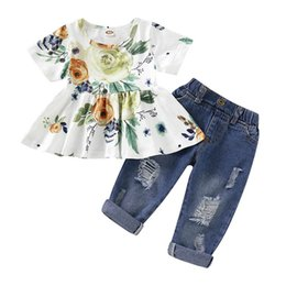 Discount pink baby designer dresses - Ins 0-3t girls outfits baby suits Summer baby girl clothes floral dresses+hole jeans pants Infant sets baby girl designe
