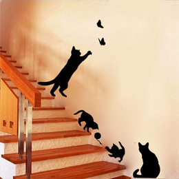 $enCountryForm.capitalKeyWord Australia - 1 Set Pack New Arrived Cat play Butterflies Wall Sticker Removable Decoration Decals for Bedroom Kitchen Living Room Walls