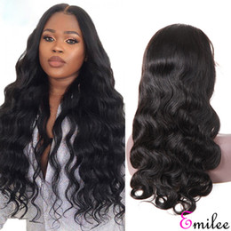 virgin swiss lace wig NZ - Emilee Body Wave 13x4 Lace Front Wigs Human Hair Unprocessed 8A Myanmar Virgin Hair Wig for Women 24inch 150% Density Natural Black