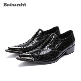 $enCountryForm.capitalKeyWord UK - Batzuzhi Pointed Metal Tip Mens Shoes Black Patent Leather Fish cales Pattern Leather Oxford Shoes Formal Business Leather Shoe