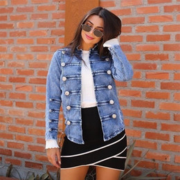 Blue Nail Coating Australia - 2019 spring and summer explosion models denim jacket female nail buckle plate with white coat female 3XL women jacket plus size T5190612