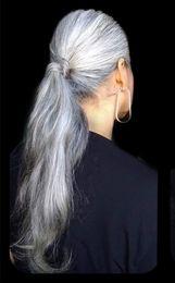 $enCountryForm.capitalKeyWord NZ - Long naturally wavy silver grey pony tail hair piece wrap around silver hair ponytail salt and pepper granny hair natural highlights