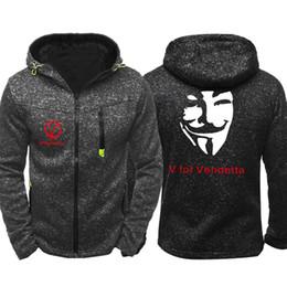 Polyester Mask Australia - Men Spring Autumn V for Vendetta Mask Rangers Hoodies Sweatshirts Zipper Unisex Hooded Coats Long Sleeve Jackets Outerwear