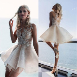 Short Homecoming Prom Dresses Jewel Neck Lace Appliqued Sleeveless Mini Cocktail Party Dress Cocktail Gowns Plus Size on Sale