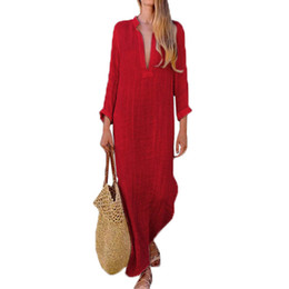 e8fe16ec6d90 Gypsy Women Dresses Robe Long Sleeve V-neck Ethnic Boho Cotton Linen Summer  Beach Maxi Dress drop shipping designer clothes