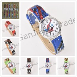 Wholesale 3D Cartoon spiderman Watches Anime Spider Man Watch Children Students Spider man Wristwatches PU Leather Quartz Wrist Watches for Kids