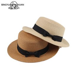 women bow hats Australia - BING YUAN HAO XUAN Wholesale Sun Hat Flat Straw Hat Girls Bow Summer Hats For Women Beach Panama Flat Straw Chapeau Femme