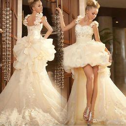 $enCountryForm.capitalKeyWord Australia - Vintage Informal Receptional Wedding Dresses 2019 Ivory Princess High Low Wedding Dresses Lace Bow Ruffles Bride Dress Sexy Bridal Gowns