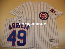 $enCountryForm.capitalKeyWord Australia - Cheap custom Chicago #49 ARRIETA Cool Base Sewn Baseball Jersey W Patch NEW Mens stitched jerseys Big And Tall SIZE XS-6XL For sale