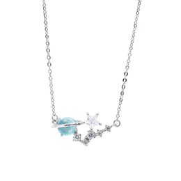 $enCountryForm.capitalKeyWord Australia - Original girl heart blue glass star necklace dream star copper necklaces pendats women fresh student clavicle chain necklace
