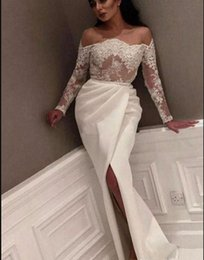 long kaftan dresses robe Canada - 2019 Saudi Arabic Sheath Prom Dresses Long Sleeves Off the Shoulder Dubai Kaftan high Side Split Evening Gowns Elegant Robe De Soiree