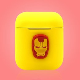 ThinnesT cell phone online shopping - Cartoon Silicone Case for Apple Airpods Marvel Avengers Spider Captain Iron Soft Thin Protector Cover for Air pods Airpod Cell Phone Case