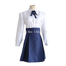 Wholesale fate stay night saber cosplay resale online - Fate Stay Night Saber Arturia Pendragon Cosplay Costume Sailor Suit Casual DailyTunic Skirt School Uniform Outfit Anime Cosplay Costumes