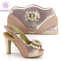 $enCountryForm.capitalKeyWord Australia - New Arrival Italian Ladies Shoes and Bags To Match Set Decorated with Rhinestone Ladies Shoes with Matching Bags Set for Wedding