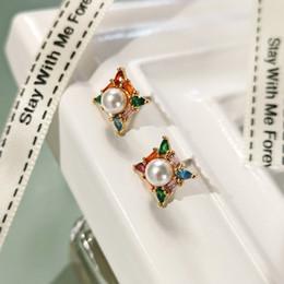 $enCountryForm.capitalKeyWord Australia - Simple Design Women Earrings Korean Geometric Square Zircon Simulated Pearl Stud Earrings Women Fashion Jewelry Gift Accessories