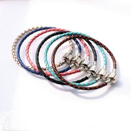 Bare Chain Australia - DIY Braided Leather Buckle Chain Handmade Silver Plated Box Chain Bare Chain for DIY Bracelet Jewelry Accessories