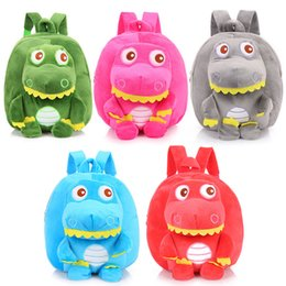 $enCountryForm.capitalKeyWord Australia - Plush Animal Backpacks Dinosaur schoolbag children cartoon school bag Kindergarten Kids Crystal velvet plush Toy Shoulder Bag
