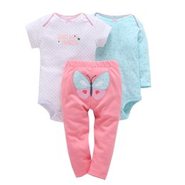 cute boys models UK - Bebes Boy Girl Clothes Set , Kids Baby 2019 Original Cotton Babyclothing Set Full Sleeve + Pants + Cute Romper Butterfly Model J190520