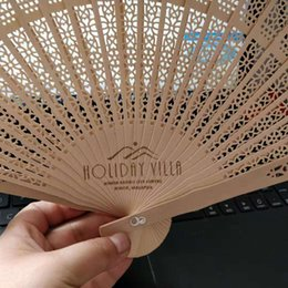 $enCountryForm.capitalKeyWord Australia - Personalized Sandalwood Folding Hand Fans With Organza Bag Wedding Favours Fan Party Giveaways Free Shipping In Bulk