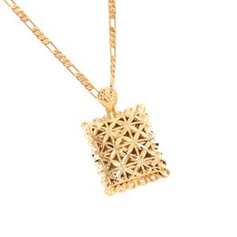 $enCountryForm.capitalKeyWord NZ - New Golden Plated Flower African Algeria Pendant Charm Necklace Sport Jewelry Yellow Gold Color Chain For Men