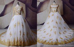 $enCountryForm.capitalKeyWord NZ - Stunning Whit Gold Lace Ball Gown Wedding Dresses Bridal Gowns Long Sleeves Applique Real Photos Illusion Beads vestido de novia