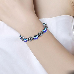 $enCountryForm.capitalKeyWord Canada - Evil Eyes Beads Hematite Stone Stretch Bracelet For Men and Women Anti-Fatigue Magnetic Therapy Bracelet Jewelry
