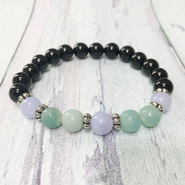 Tourmaline agaTe online shopping - MG0353 Hot Sale Black Tourmaline Bracelet Natural Grand Amazonite Yoga Bracelet Energizing Blue Lace Agate Jewelry