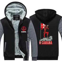 $enCountryForm.capitalKeyWord Australia - Men Casual Thicken Hooded Sweatshirts Deadpool O CANADA Print Cotton Zipper Hoodies Winter Cardigan Jacket Coat Tops USA EU Size