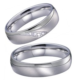 white gold bezel NZ - Top Quality Marriage Alliances Silver White Gold Color couple Wedding Rings set for men and women gift stainless steel jewelry