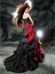 Sexy Black Gothic Corset Dress Australia - Black and Red Gothic Evening Dresses 2019 Vintage Court Style Sweetheart Ruffle Taffeta Floor Length Big Bow Sexy Corset Party Prom Gowns