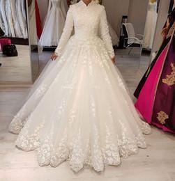 $enCountryForm.capitalKeyWord Australia - Lace Tulle High Neck Muslim Wedding Dresses with Long Sleeves Ball Gown Floor Length Arabic Women Modest Bridal Gowns Sleeved Custom Made
