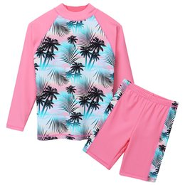 Discount teens suits - BAOHULU Print Girls Swimwear Two Piece Set Long Sleeve Swimsuit Kids Children's Swimwear Teens Bathing Suits 3-12 Y