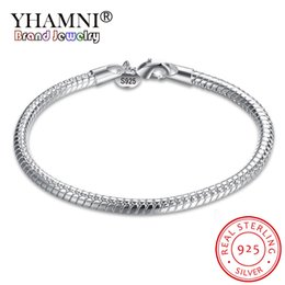 $enCountryForm.capitalKeyWord Australia - YHAMNI 100% Original 925 Sterling Silver Charm Bracelet Bangles 20CM Long Fashion Wedding Jewelry Smooth Snake Bracelets for Women ZB001