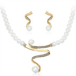 $enCountryForm.capitalKeyWord Australia - High Quality Imitation Pearl Elegant Wedding Jewelry Necklace Earrings Set Made with Austrian Crystals
