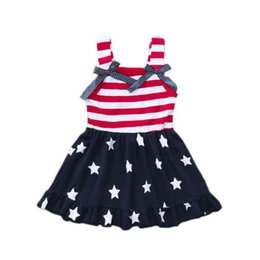 $enCountryForm.capitalKeyWord Australia - Girls Star Stripe Dresses for The Fourth of July USA National Day Summer Kids Special Occasion Clothes Girls Flag Braces Dresses