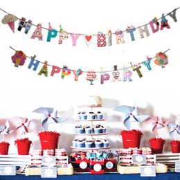Birthday decoration flag online shopping - New Cartoon Happy Birthday Party Letter Hanging Bunting Banner Garlands Flags Baby Shower Kids Birthday Party Decoration