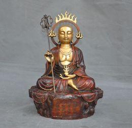 Ingrosso Decorazione di cerimonia nuziale Buddismo tibetano bronzo dorato Ksitigarbha jizo Ksitigarbharaja Bodhisattva Statua Capodanno