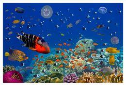 Marines Housing Australia - Wholesale-Custom 3d silk photo mural wallpaper Underwater World Aquarium Marine Life Living Room Bedroom TV Sofa Background Papel de parede
