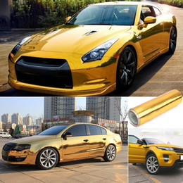 $enCountryForm.capitalKeyWord Australia - Gold Golden Chrome Mirror Vinyl Wrap Film Car Sticker Decal Bubble Free Air Release DIY Car Styling 10*150cm