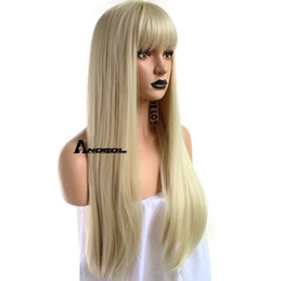 straight bangs wig Australia - Details about Anogol Blonde 613 Wig with Bangs Fringe Synthetic Cabelo Long Wavy Straight Hair