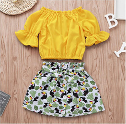 Wholesale Big Bow Shirt Australia - Girl Floral Edge Collar T-shirt and Big Mouth Bird Skirt Set Baby Summer Yellow Tops and Short Dress Suit Kids Clothes Two Pieces ZHT 238