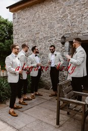 Stylish Cool Groom and Groomsmen Wedding Tuxedos Light Jackets and Navy Trouser Suit Custom Make Boho Wedding Dinner Casual Suit