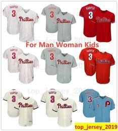 b3967745d 2019 New Style Bryce Harper Jersey Philadelphia Man Youth Kids Woman  Phillies Baseball 3 Bryce Harper Jerseys White Red Grey Cream Blue Boys