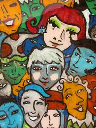 $enCountryForm.capitalKeyWord Australia - Cartoon Art People Of All Colors Together,Oil Painting Reproduction High Quality Giclee Print on Canvas Modern Home Art Decor