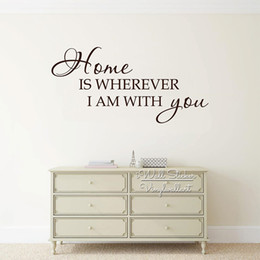 Bathroom Wall Sticker Quotes Australia - Home Is Wherever I Am With You Quote Wall Decal, Home Quote Wall Sticker, Wall Sticker Living Room House Decor Q243